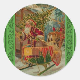 Santa que entrega los regalos con un trineo pegatina