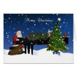 Santa que juega el piano con el árbol y la nieve tarjeta de felicitación
