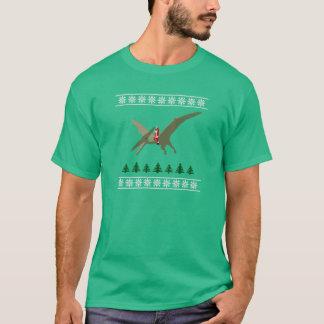Santa que monta un Pterodactyl - camiseta fea del