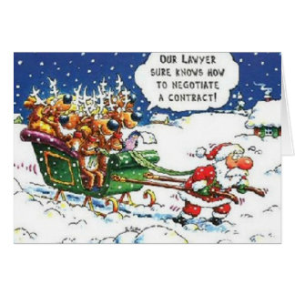 Santa que tira del reno tarjeta de felicitación