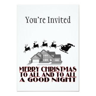 Santa que vuela durante buenas noches del navidad invitación 12,7 x 17,8 cm