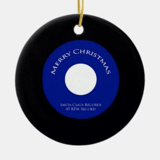 Santa registra el ornamento de 45 navidad de la adorno navideño redondo de cerámica