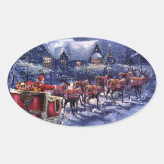 Santa saca en su Nochebuena del trineo Calcomania De Óval Personalizadas