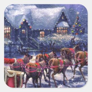 Santa saca en su Nochebuena del trineo Colcomanias Cuadradas Personalizadas