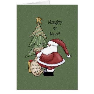 ¿Santa - travieso o Niza? Tarjeta De Felicitación