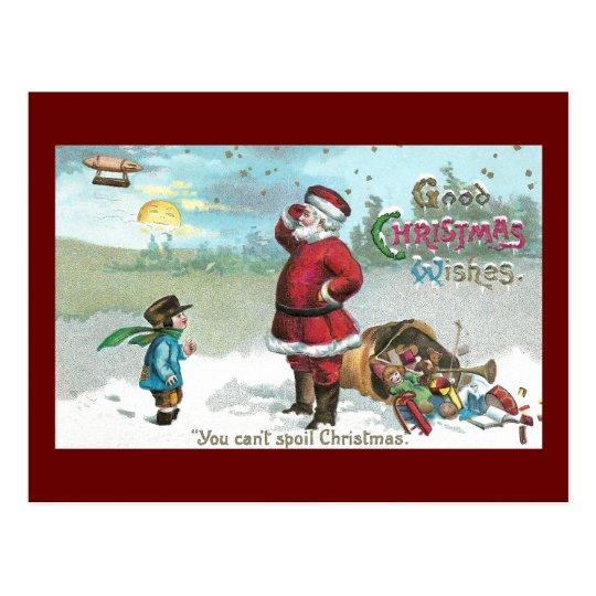 Santa trenzó en la nieve postal