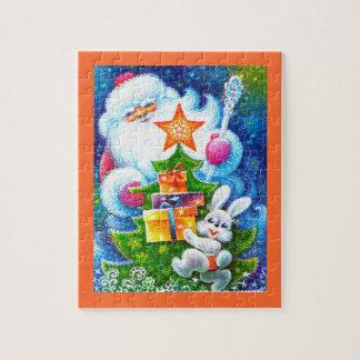 Santa y conejito puzzle