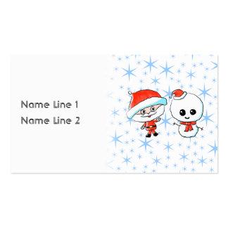 Santa y muñeco de nieve lindos tarjeta de visita