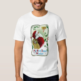 Santa y Navidad del vintage de la vid que trenza Camisetas