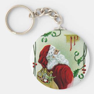 Santa y Navidad del vintage de la vid que trenza Llavero Redondo Tipo Chapa