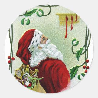 Santa y Navidad del vintage de la vid que trenza Pegatina Redonda