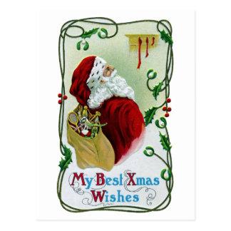 Santa y Navidad del vintage de la vid que trenza Postal