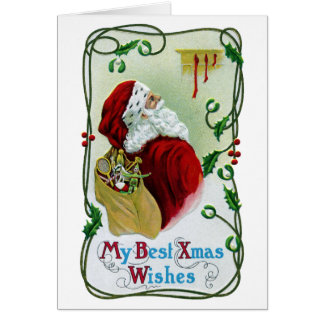 Santa y Navidad del vintage de la vid que trenza Tarjeta De Felicitación