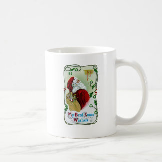 Santa y Navidad del vintage de la vid que trenza Taza Clásica