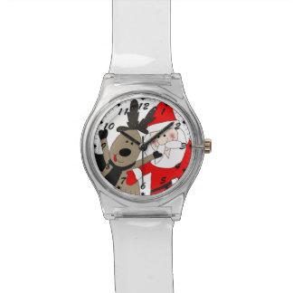 Santa y reno alegres #1 reloj de pulsera