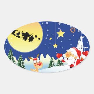 Santa y Rudolph Pegatina Ovalada