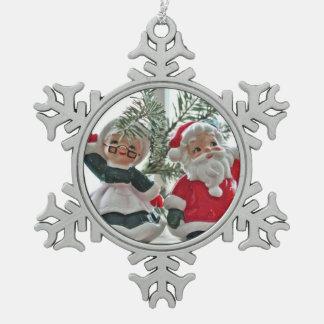 Santa y señora Claus Adorno De Peltre En Forma De Copo De Nieve