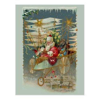 Santa y su postal asombrosa de la máquina de vuelo