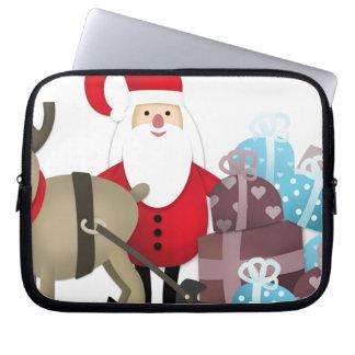 Santa y su reno con los regalos funda para portátil