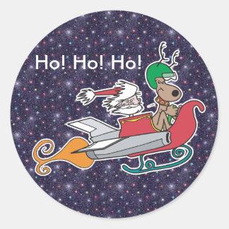 Santa y su trineo de Rocket Pegatina Redonda