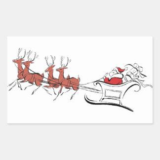 Santa y su trineo rectangular pegatinas