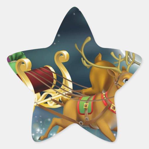 Santa y trineo colcomanias forma de estrellas