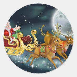 Santa y trineo etiquetas redondas