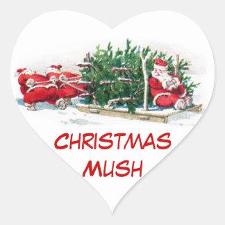 Santas que tiran de Navidad divertida del trineo Pegatinas