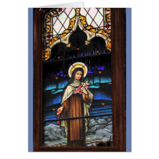 Santo católico Teresa de la mirada del vitral Tarjeta De Felicitación