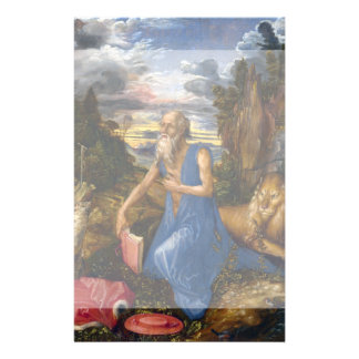 Santo Jerome en el desierto por Durer Folleto 14 X 21,6 Cm