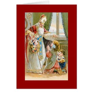 Santo Nicholas del navidad del vintage Tarjeta Pequeña