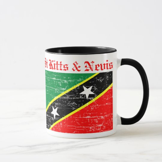 Santo San Cristobal y bandera apenada Nevis Taza