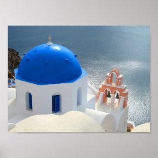Santorini por la tarde Sun Póster