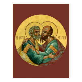 Santos Peter y tarjeta del rezo de Paul