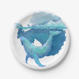 Santuario de la ballena del océano meridional plato de papel