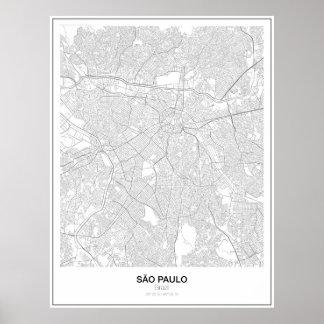 São Pablo, el Brasil, poster minimalista del mapa Póster