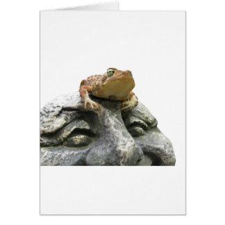 Sapo en roca feliz de la cara del jardín tarjeta de felicitación