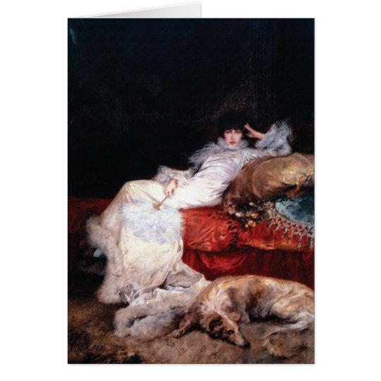 Sarah Bernhardt con el Borzoi Tarjeta De Felicitación