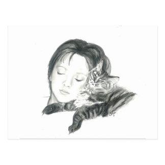 Sasha y gato del gatito postal