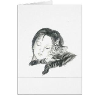 Sasha y gato del gatito tarjeta de felicitación
