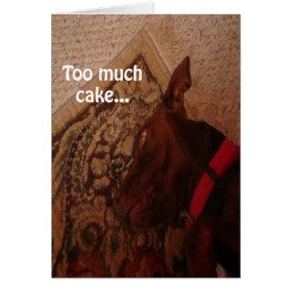 Sassafrass y dicha demasiada torta tarjeta de felicitación