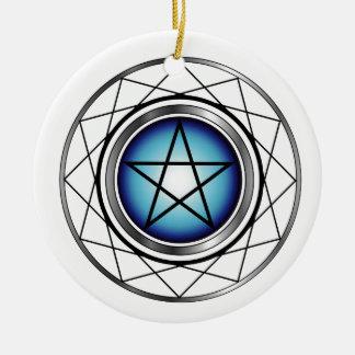 Satanism religioso del símbolo del pentáculo adorno redondo de cerámica