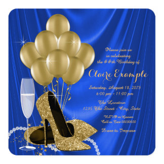 Satén atractivo del azul real y de la fiesta de invitación 13,3 cm x 13,3cm
