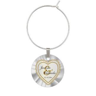 Satén blanco hermoso y boda metálico del oro identificadores de copas