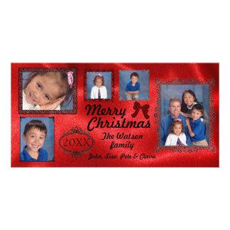 Satén rojo del vintage de 5 fotos - tarjeta de la tarjetas personales con fotos
