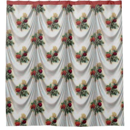 Satén y cortina de ducha blancos del diseño floral