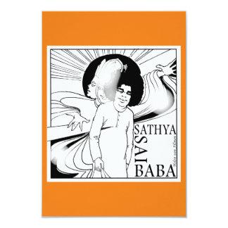 Sathya Sai Baba BD, dibujo de la mano Invitación 8,9 X 12,7 Cm