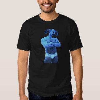 Sátiro azul en camiseta de los escritos
