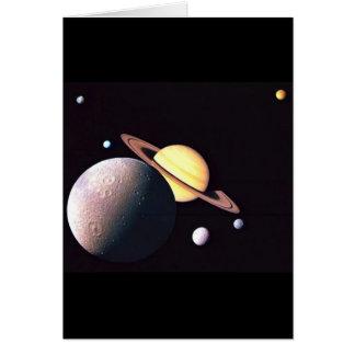 Saturn y lunas tarjetón
