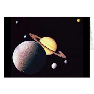 Saturn y lunas tarjeta